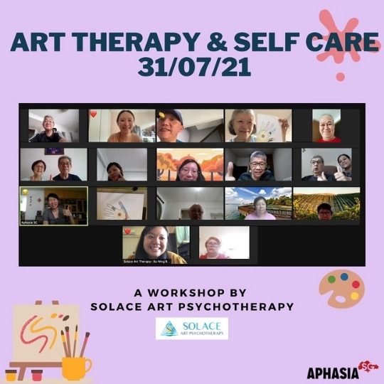 Screenshot of art therapy and self care workshop with people with aphasia